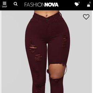 Fashion Nova High Waisted Burgundy Jeans